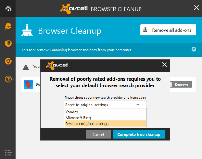 avast browser cleanup add-ons removal