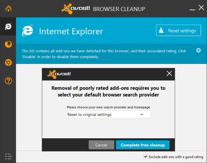 avast browser cleanup reset settings
