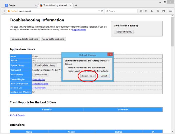 Подтвердите сброс настроек Firefox