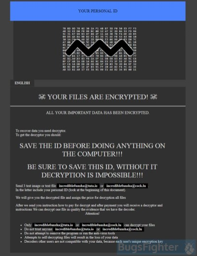 GlobeImposter 2.0 Ransomware (.{incredible0ansha@tuta.io}.ARA)