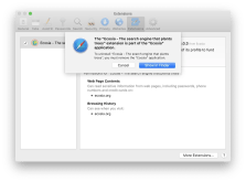 Message Safari, lors de la tentative de désinstallation du module complémentaire