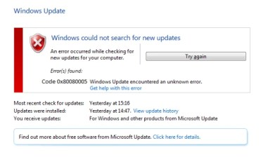 Windows Update Error 0x80080005 in Windows 7