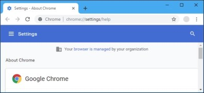 Your browser anaged by your organization message in settings in Google Chrome