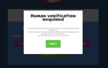 Human Verification pop-up (variation 2)