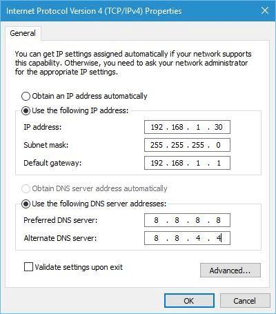 configurazione valida wifi