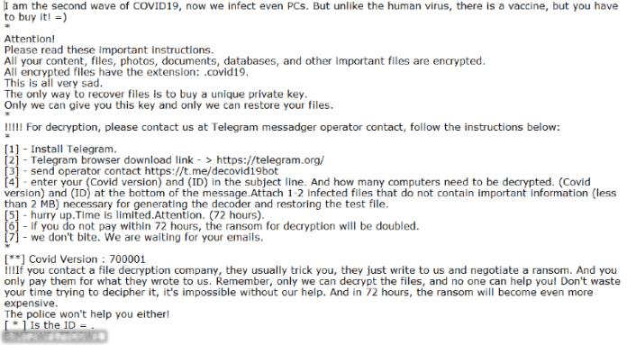 decovid19 ransomware