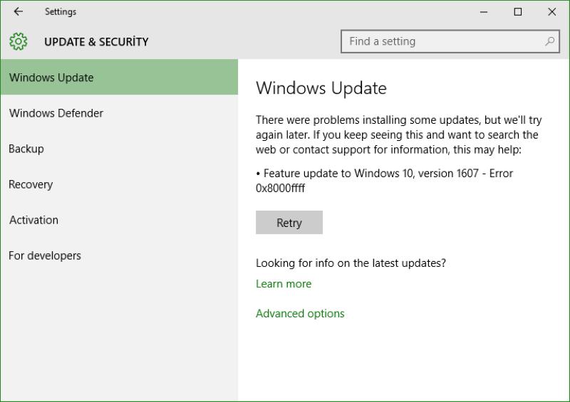 windows update error 0x8000ffff