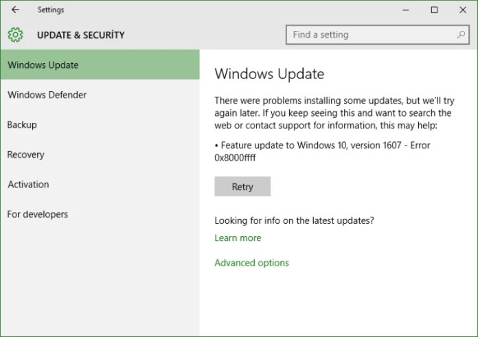 error de actualización de Windows 0x8000ffff