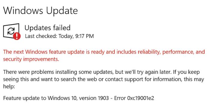 erreur de mise à jour Windows 0xc19001e2