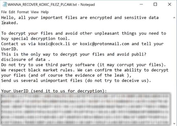 ransomware koxic