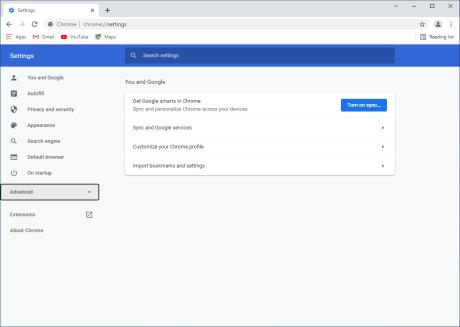 Google Chrome > Settings > Advanced