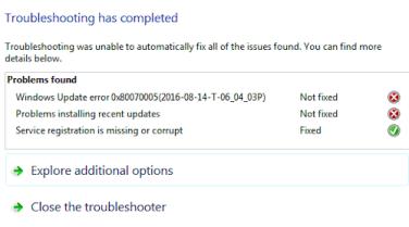 Windows Update error 0x80070005 (sample 2)