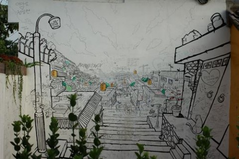 A painted view of Ihwa-dong