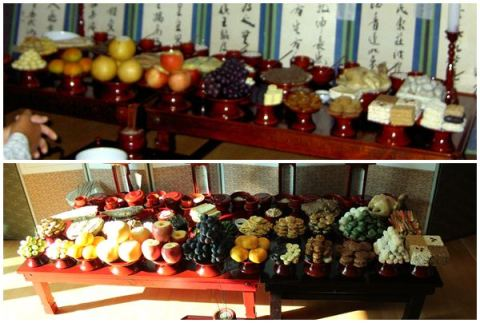 Top: Our Chuseok table in 2005.  Bottom: Our Chuseok table in 2012.