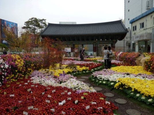 Colorful flowers lined the path from the main gate.