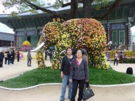 "My elder sisters posing in front of the ""elephant"""