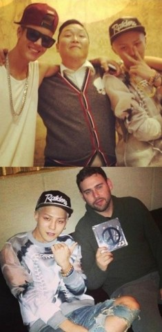 Top: Justin Bieber, PSY and G Dragon Bottom: G Dragon and Stuart Braun