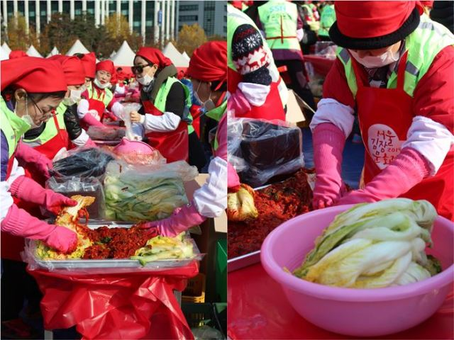 Ajummas having fun making kimchi for the less fortunate.
