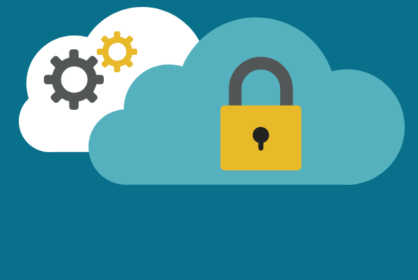 white and blue clouds with security and settings for cloud migration
