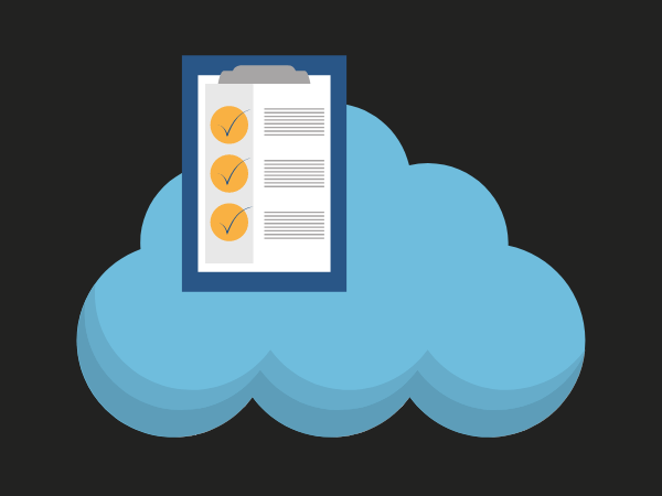 Blue cloud and checklist to symbolise cloud migration readiness assessment and planning