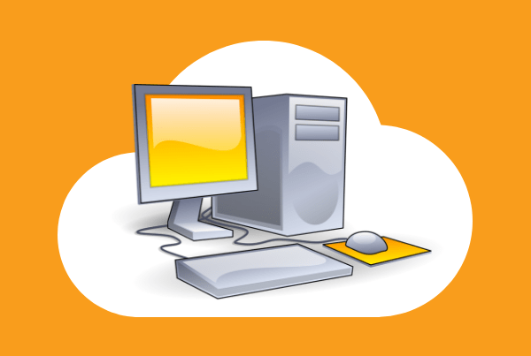 Graphic showing cloud shape and computer CPU, screen, keyboard and mouse to showcase cloud computing