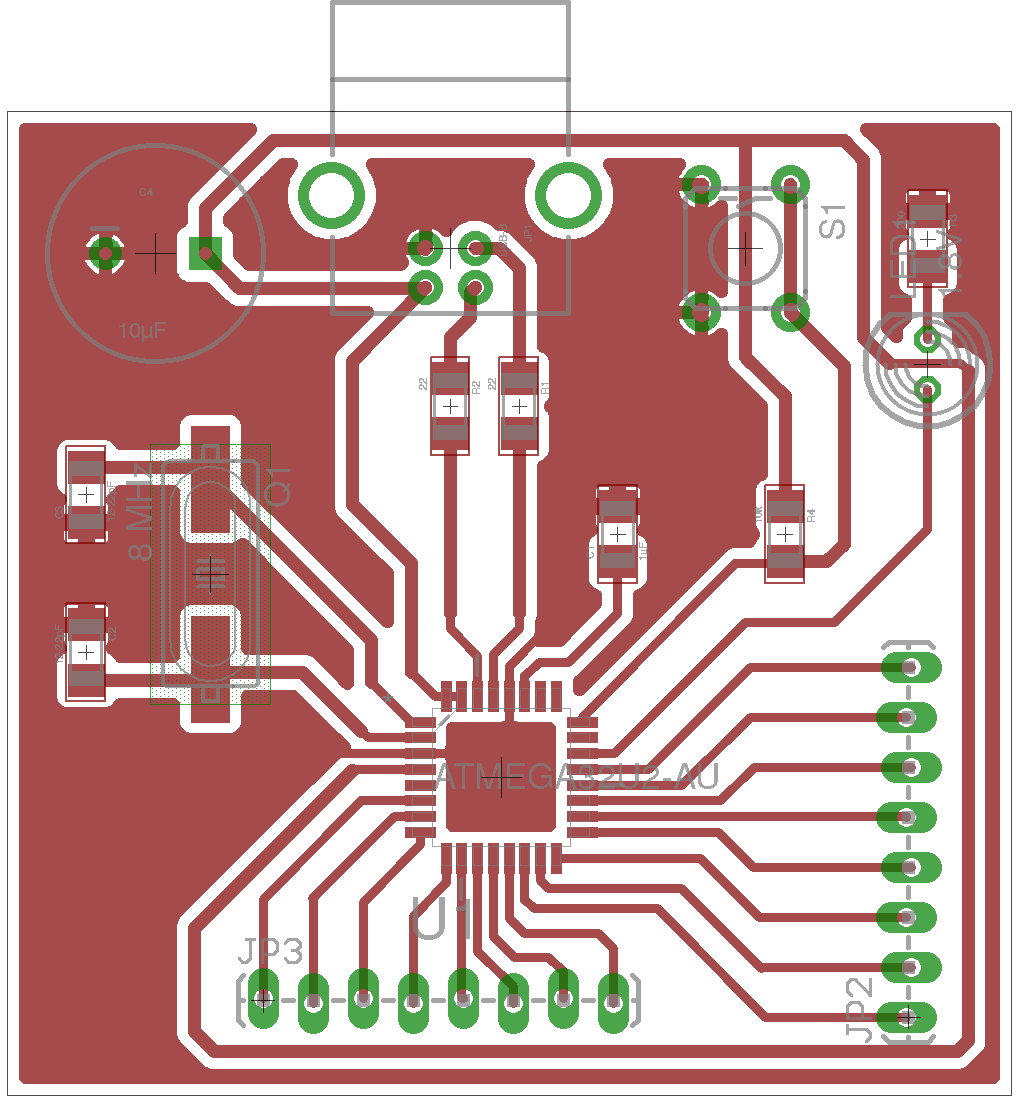 Circuit board layout for ATmega32U2 circuit tutorial