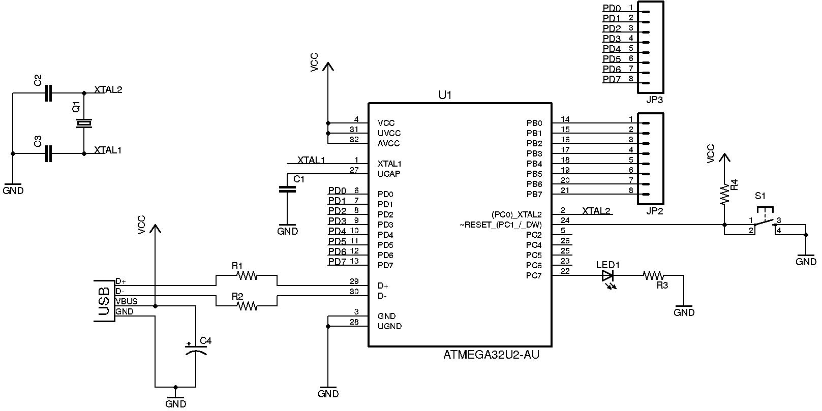 Microcontroller Tutorial Atmega32u2 Circuit