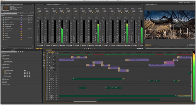 Premiere interface for time lapse editing