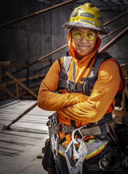 Femael construction worker April Marquez