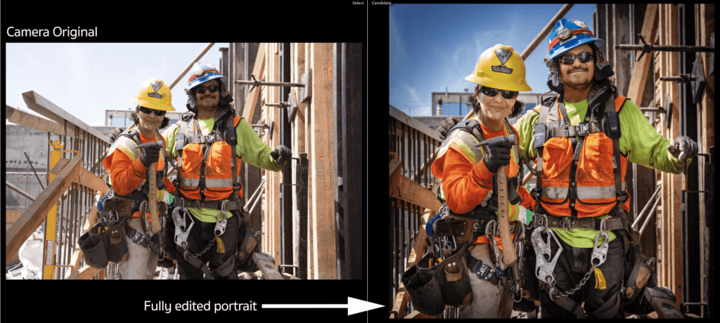 Female and male construction workers and their carpentry tools
