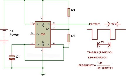 Astable mode of 555 timer – BuildCircuit.COM on