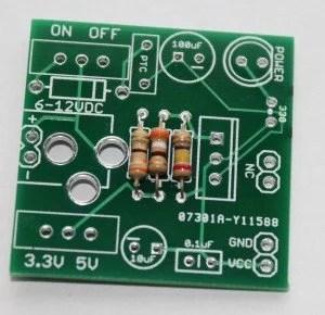 Step 1- solder resistors 330R, 240R and 390R