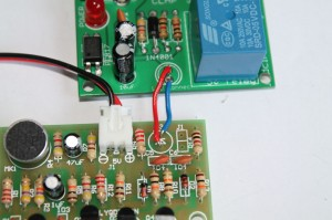 Step 2- Connect the anode pin of clap switch kit to the anode pin of relay module