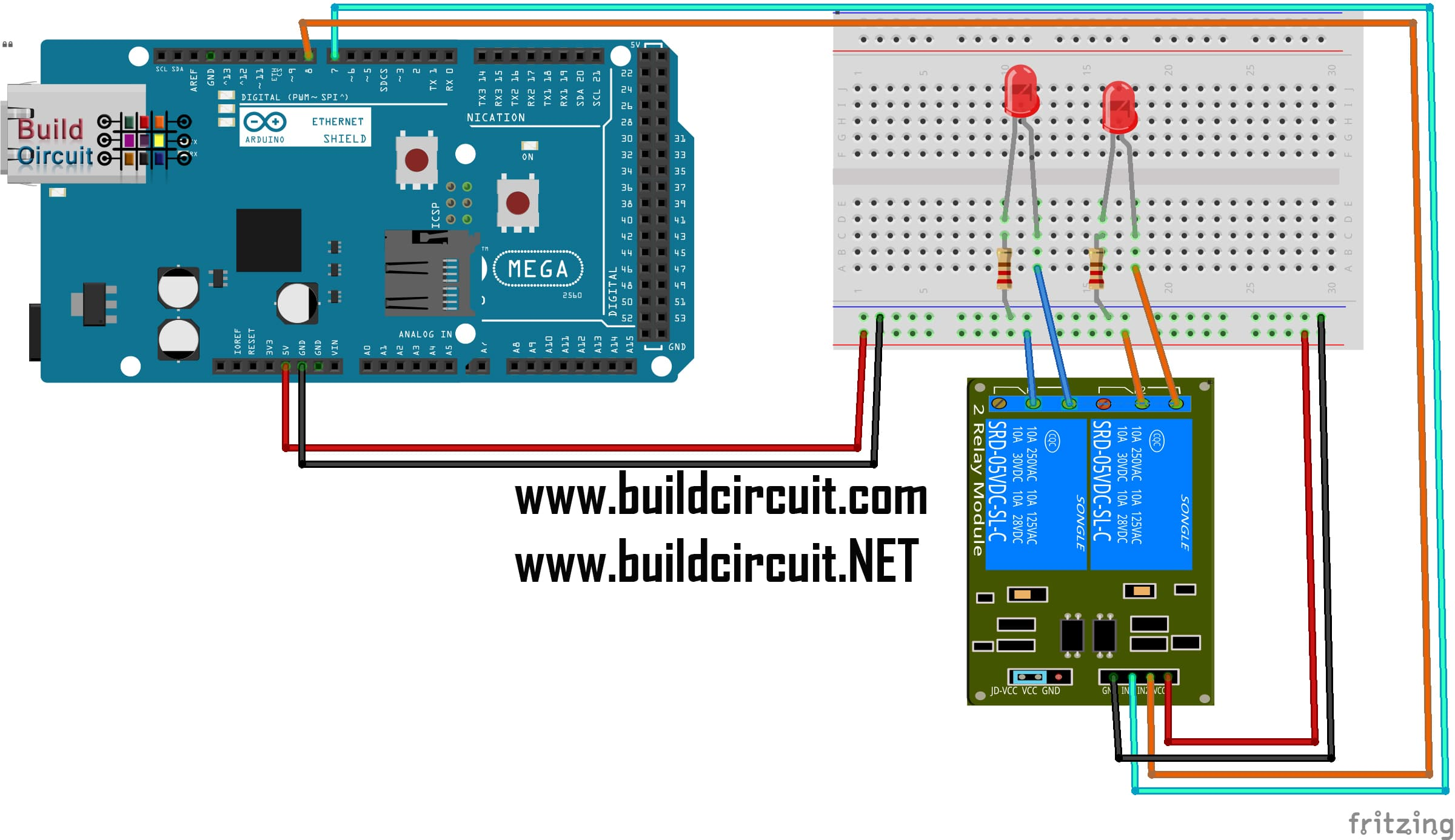 [FPER_4992]  2 Channels Relay Test Using Arduino Mega and Ethernet Shield –  BuildCircuit.COM | Mega Relay Board Wiring Diagram |  | BuildCircuit.COM