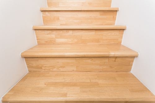 Installing Hardwood On Stairs A Step By Step Guidelearning Center   Installing Hardwood On Stairs   Tile Riser White Landing Tread   Combined Wood   Brazilian Cherry Hardwood Stair   Cream Wood   Bottom Stair