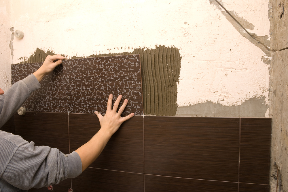 an accent wall with wall tile