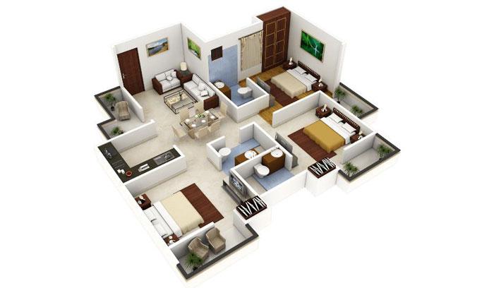 Denah Rumah 3 Bed Room