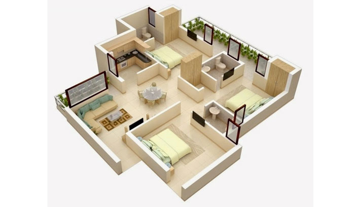 denah rumah bedroom luas