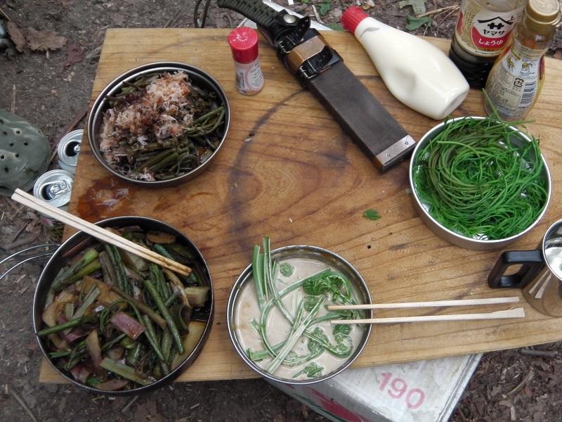 山菜尽くしの夕食