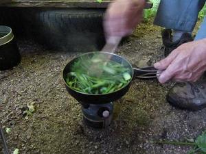 山ウドを油で炒める