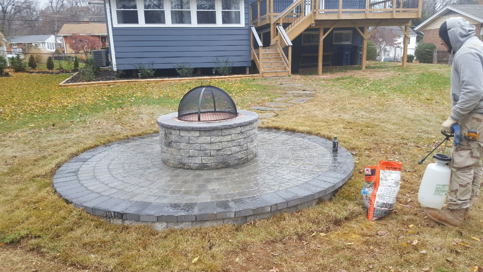 ep henry paver circle patio with fire
