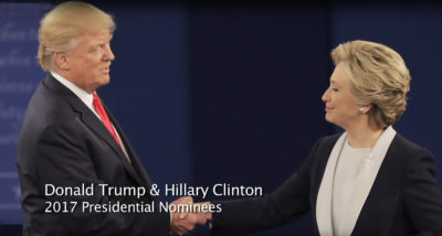 Donald Trump and Hillary Clinton at the 2016 presidential debates