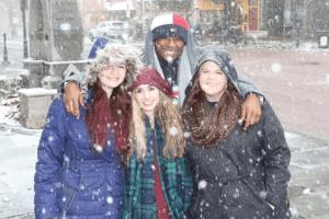 IIRP's Bethlehem office staff enjoys snowfall on street outside Kerra's training room.
