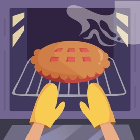 Graphic showing a pie being removed from the oven