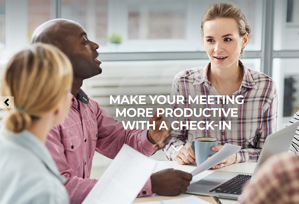 Business colleagues using check-ins to collaborate effectively