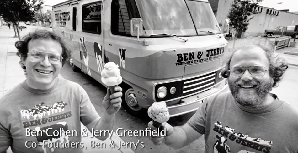 Ben Cohen and Jerry Greenfield, founders of Ben & Jerry's Ice Cream