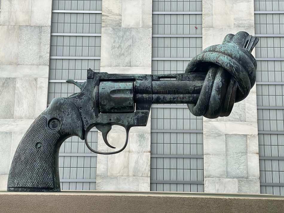 sculpture: no more gun violence
