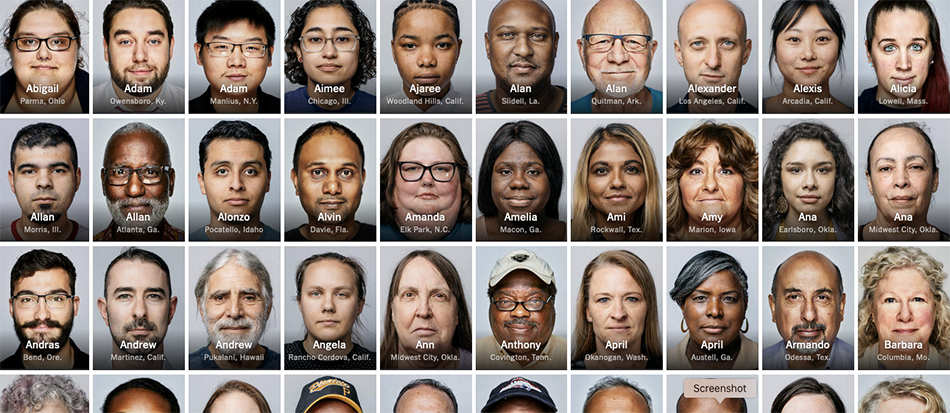 Faces of all participants in the America In One Room group