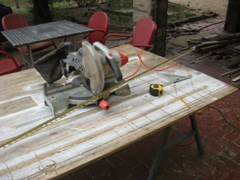 cutting tile joint spacer on a miter saw