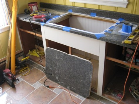 when cutting a sink hole opening in laminate countertop support from underneath